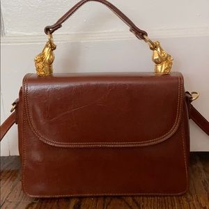Vintage Brown Crossbody with Horse Handles